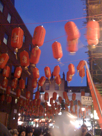 red lanterns in china town